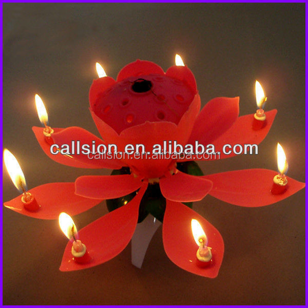 Hot sale sparkling flower happy electronic birthday cake candle with rotating and music