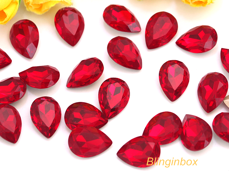 High quality glass material point back heart shape glass jewel rhinestone