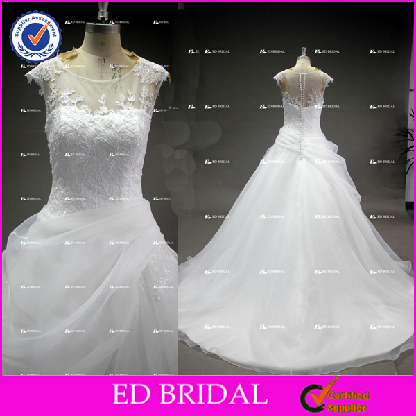 ED Bridal Manufacturer Custom Made Ivory Organza Wedding Dress Bridal Gown