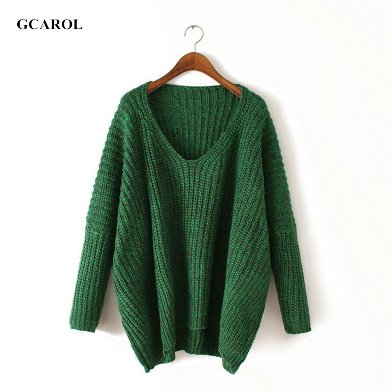 Women V-Neck Batwing Sleeve Sweater Casual Oversized Crochet Knitted Pullover Thick Irregular Length Autumn Winter Knitted Tops