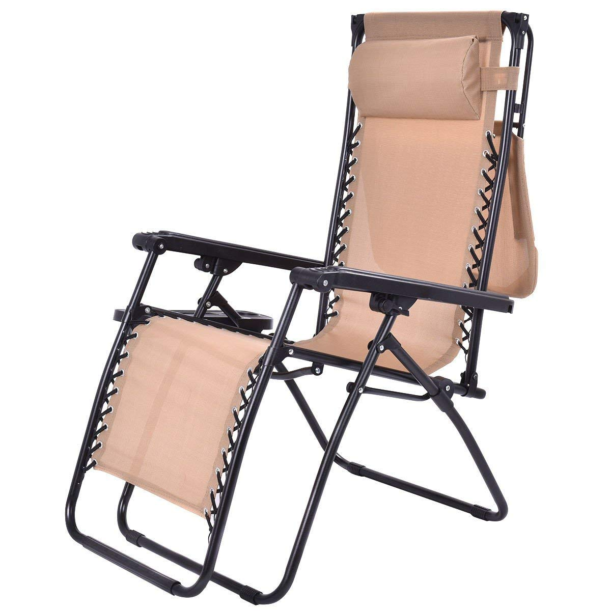 Get Quotations · MyEasyShopping Beige Folding Recliner Zero Gravity Lounge  Chair Lounge Zero Gravity Chairs Patio Outdoor Beach Folding - Cheap Zero Gravity Patio Recliner, Find Zero Gravity Patio Recliner