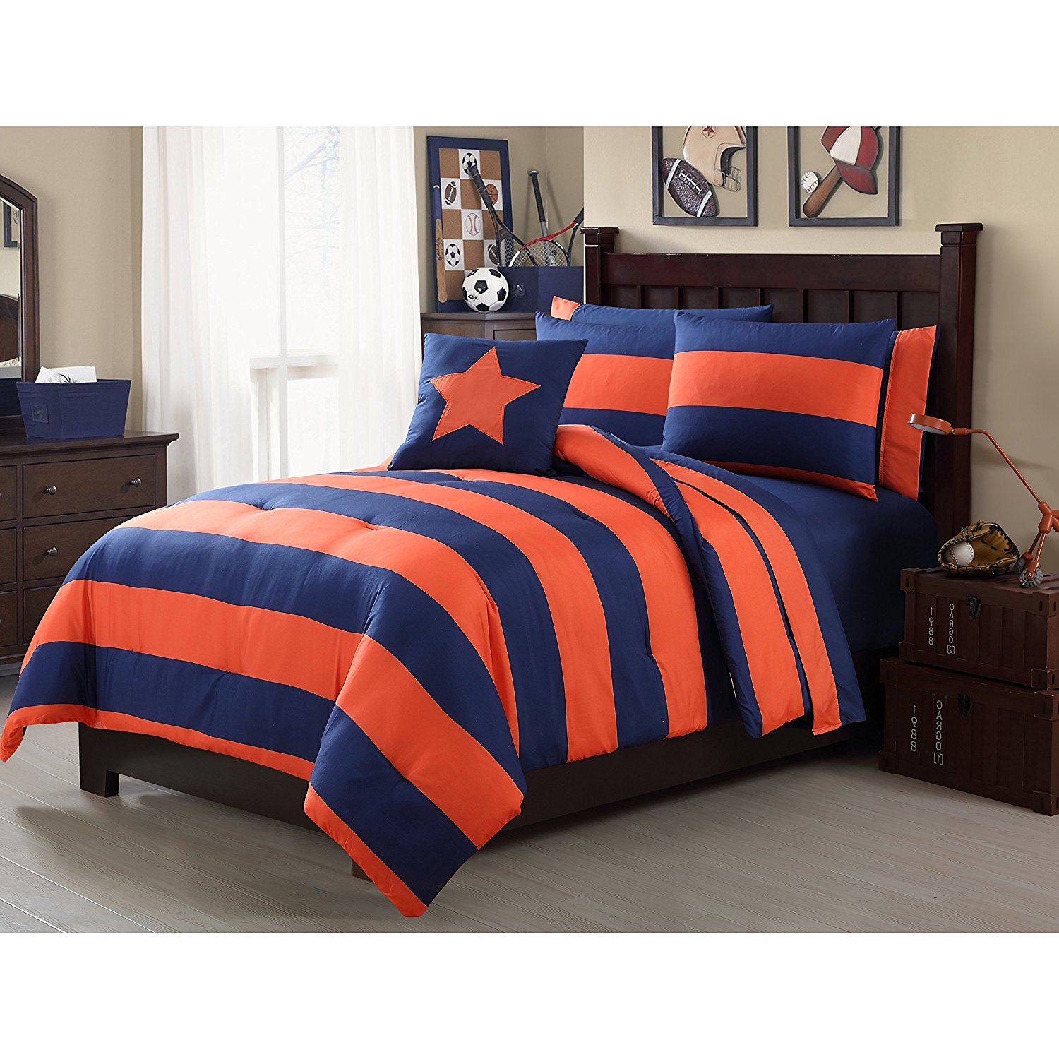 Buy 6 Piece Navy Blue Orange Rugby Stripes Comforter Twin Set Rugby Bed In A Bag With Sheet Set Tangerine Striped Pattern Team Sports Horizontal Design Sporty Themed Unisex Beautiful Colors In