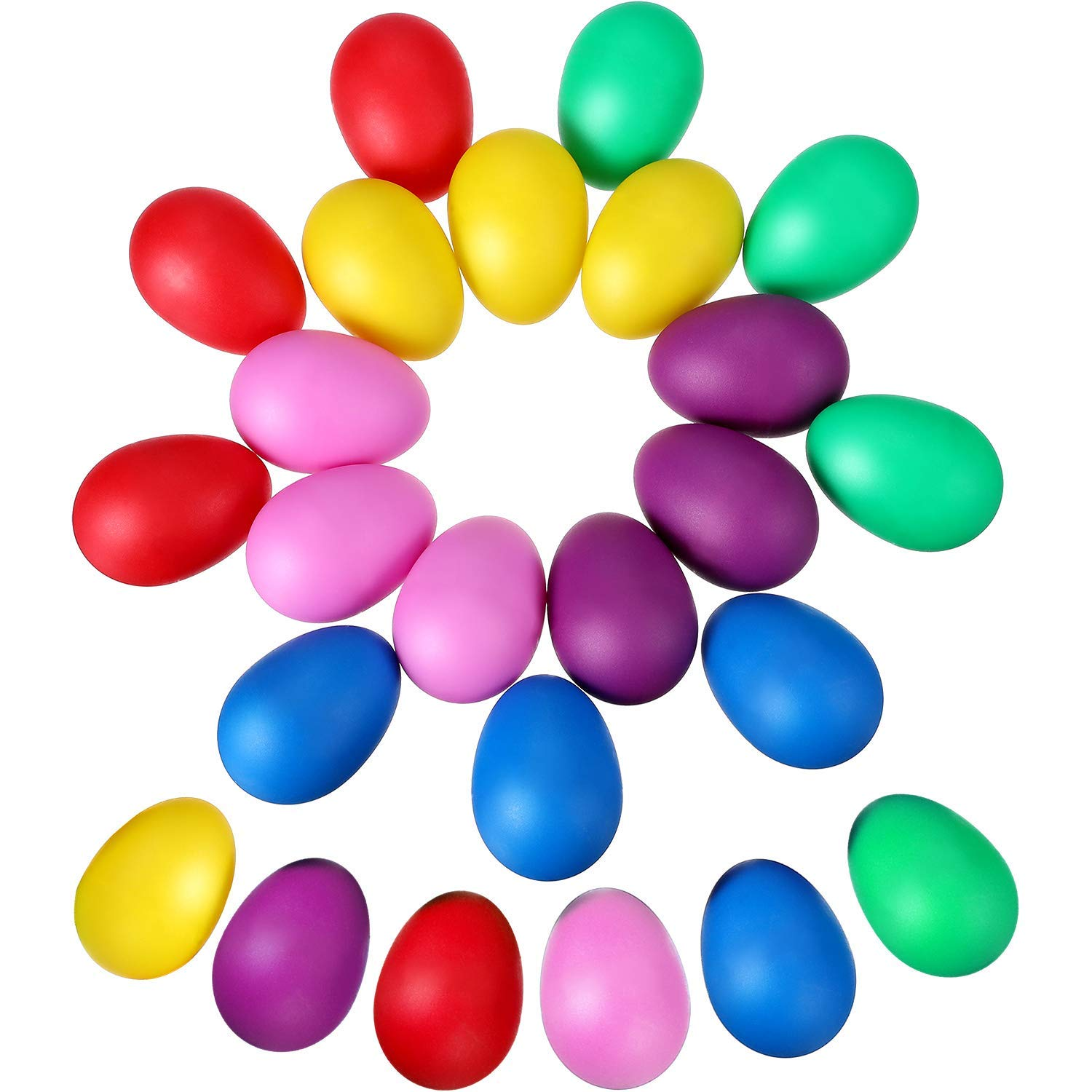 Hestya 24 Pieces Egg Shaker Set Maracas Eggs Musical Eggs Egg Shakers Plastic Eggs for Kids Party Supplies Musical Toys, 6 Colors