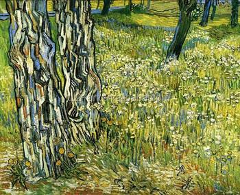 Van Gogh Lukisan Pohon Trunks Di Rumput Dinding Gambar Untuk Teman
