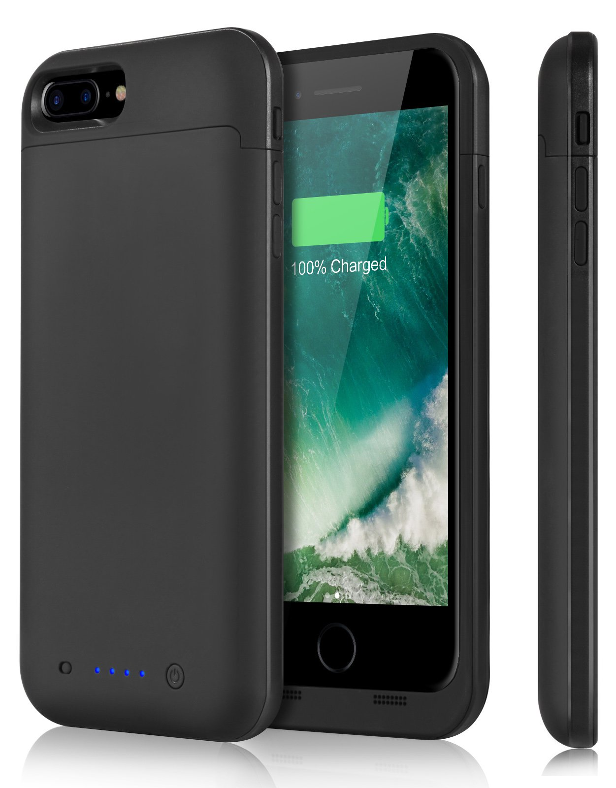 iPosible iPhone 7 Plus Battery Case   7000mAh Ultra Slim Extended Battery Backup Case Charger Pack Power Bank for iPhone 7 Plus (2016) - 5.5 inch Black [24 Month Warranty]