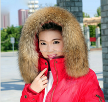 high quality detachable real raccoon fur collar / raccoon fur trim for Down Jackets