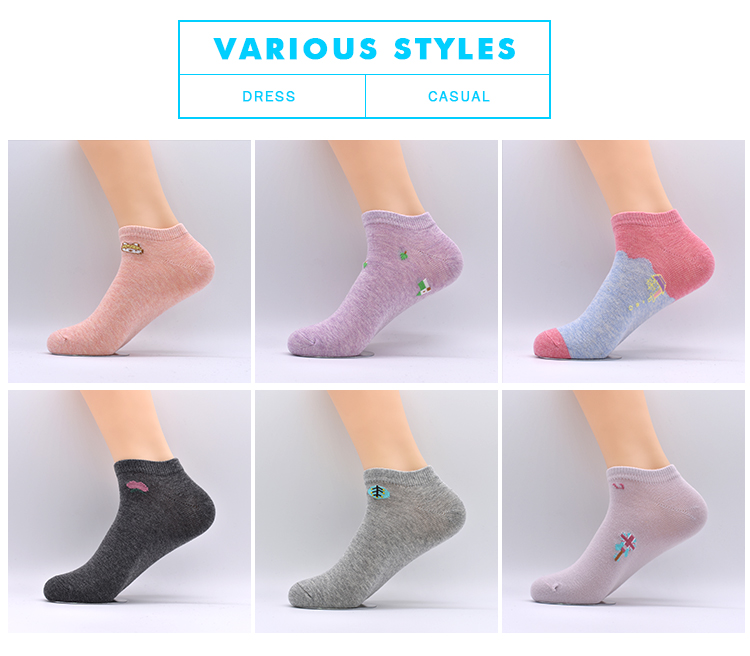 New Style Summer Cotton High Quality Custom Wholesale Happy Ankle Socks Cute for Women