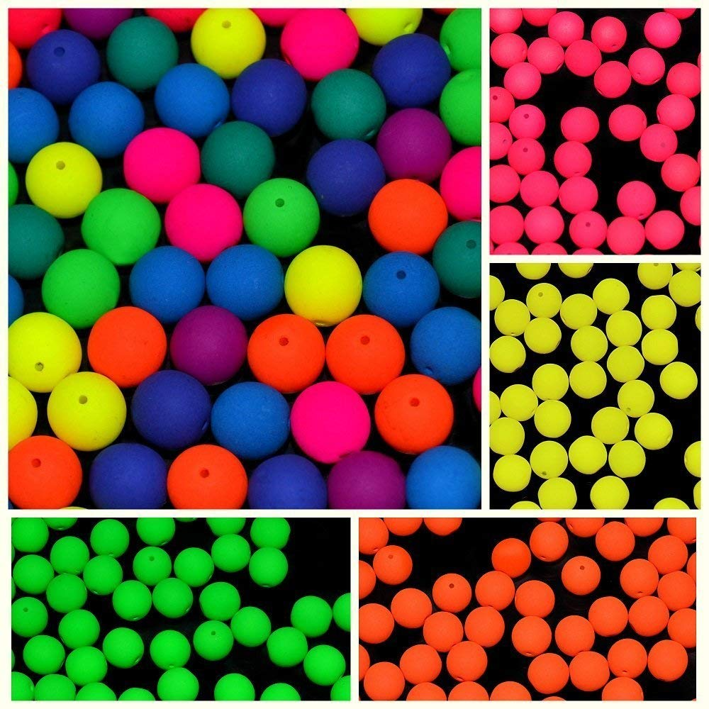 150pcs Set of Czech Glass Round Pressed Beads 8mm ESTRELA NEON (UV Active) 4 warm colors+MIX