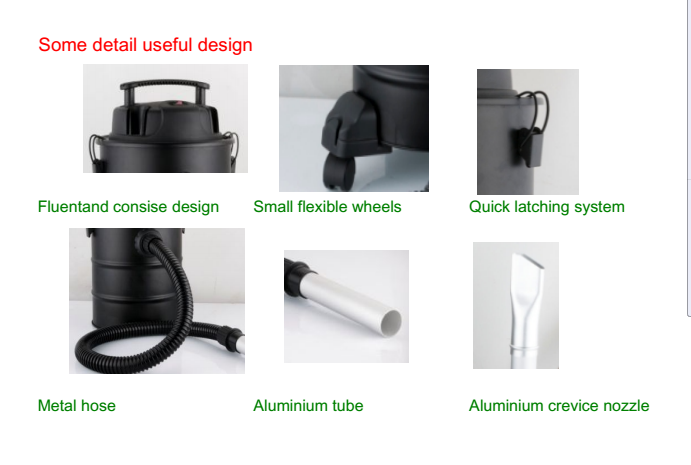 Mini Stainless Steel Cyclonic Ash Vacuum Steam Cleaner For