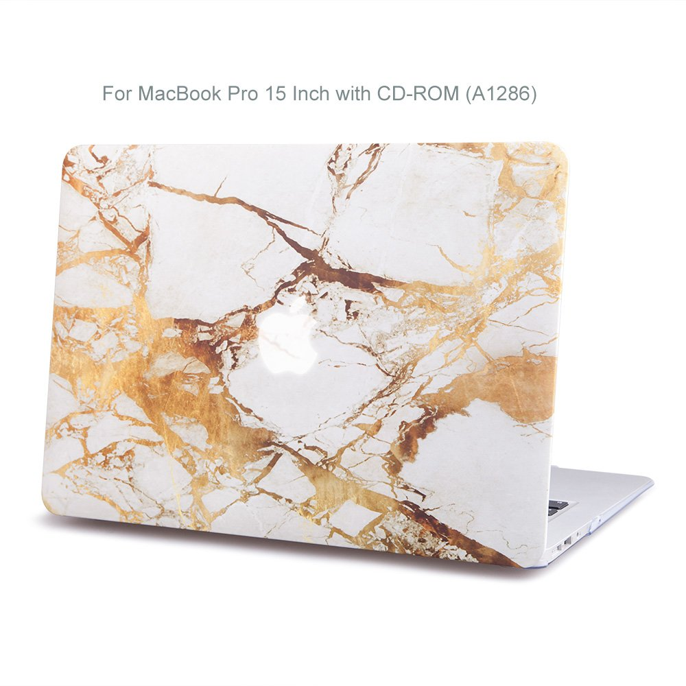 Plastic Hard Case for MacBook Pro 15 Inch with Disk Drive (Model A1286) & Keyboard Skin, Ultra Thin & Lightwight Marble Gold