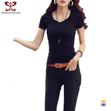 Best Selling Slim Fit Women's Shirts Black Color Western Tops Images Women T-shirt