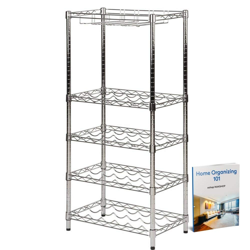 Metal Wine Racks Free Standing Floor Stemware Rack Cabinet Insert Metal Bistro Adjustable With Storage Wine Holder Buffet Server Console Glass Rack Modern Contemporary Kitchen And eBook By NAKSHOP