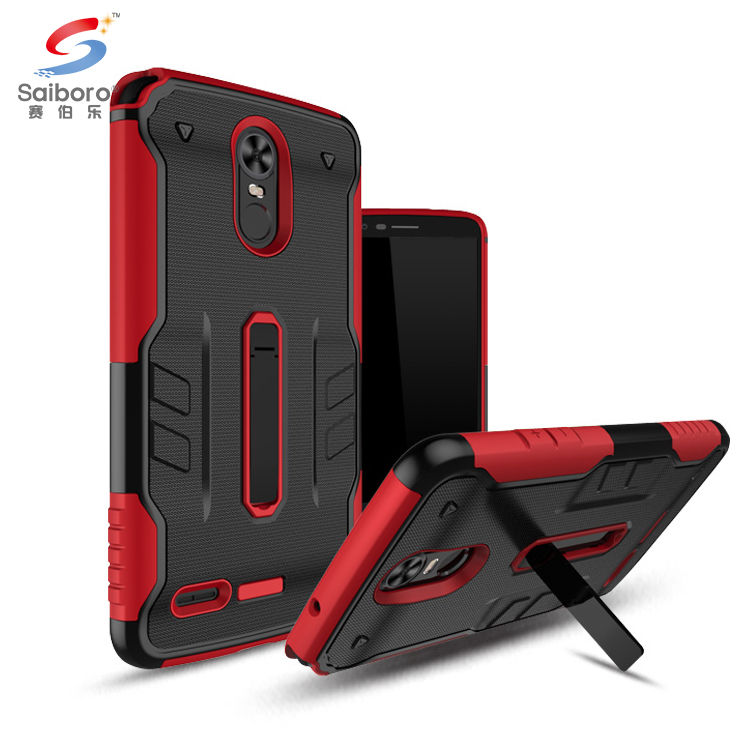 Low moq tpu pc wholesale cell phone case for stylo 3 3+,for lg stylo 3 mobile cover with metal kickstand