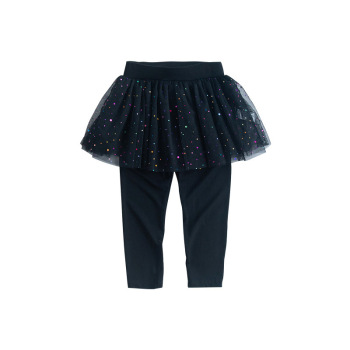 S52811A Girls black leggings with a gauzy skirt