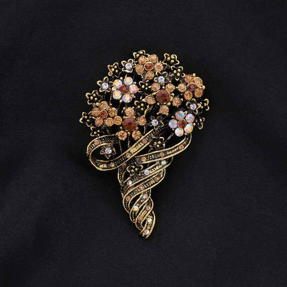 0b4fee9ddee Get Quotations · New Women Vintage Bouquet Brooch Antique Gold Color Crystal  Rhinestone Bag Collar Jacket T shirt Brooch