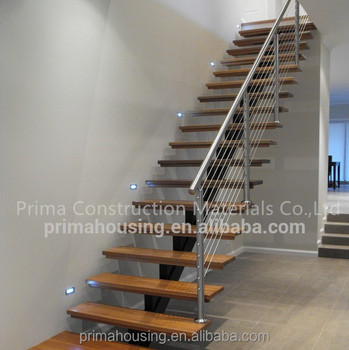 New Product Central Stringer Wooden Step Stairs With Stainless Railing Residential