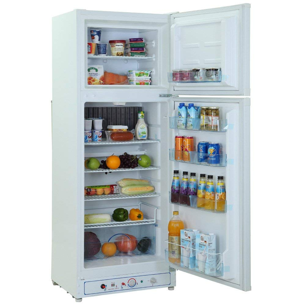 SMETA GAS Top-freezer Refrigerator 2 door 2-way AC/Propane Absorption Cooling Fridge for Cold Food Storage and Frozen Meals,White