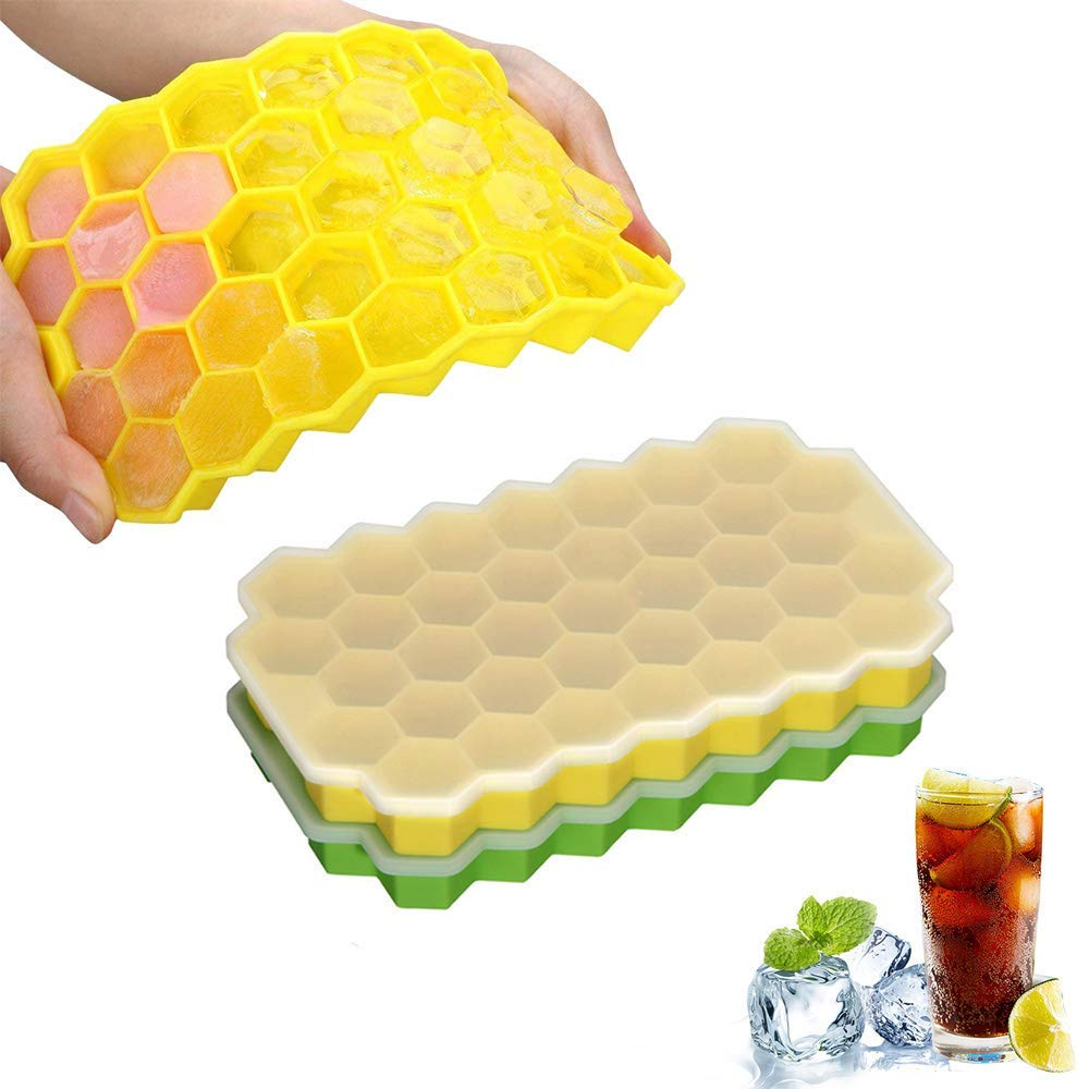 2 Pack Soft Silicone Ice Cube Trays with Non-Spill Removable Lids BPA Free – Easy Release Ice Cube Molds – 74 Shaped Cubes for Cocktail, Whiskey, Juice, Chocolate (Green & Yellow)