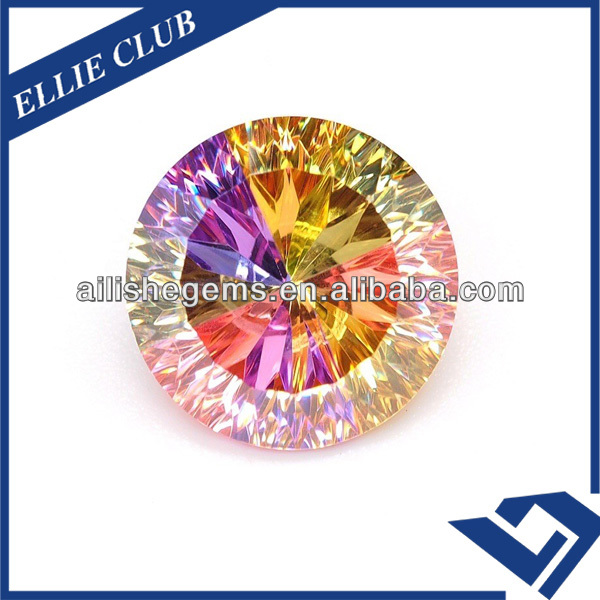 thousand facets round concaved mixed colors 15mm cubic zirconia
