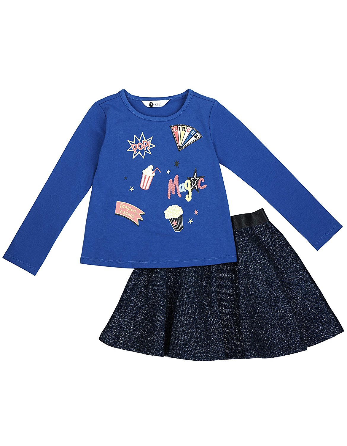 Comfy and Cute. Fun Cute Top and Skirt Set Little Girl Outfit