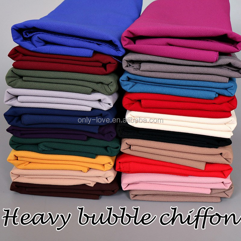 2017 High quality heavy bubble chiffon plain big thick muslim scarfs shawls,islamic hijab GYW22