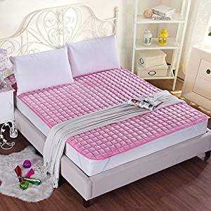 GAO Bed-Blankets Thick Flannel Blankets Anti-Slip Bed Cushion Thin Pads Washable Bedding Solid Color Double Bunk Beds, Blankets and Mattresses Of Anti-Skid ,180200Cm, - Pink