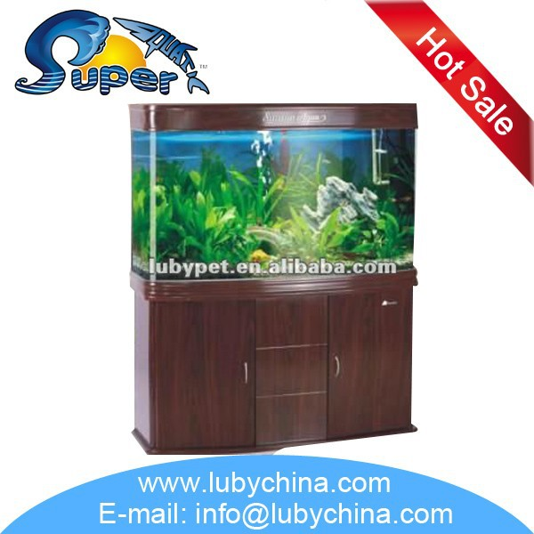 Large size bending glass fish tank Aquarium for ornamental fish, with wooden cabinet