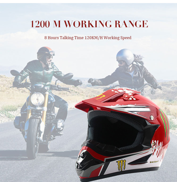 Waterproof BT Motorcycle Helmet Intercom Interphone Headsets For 6 Riders Walkie Talkie