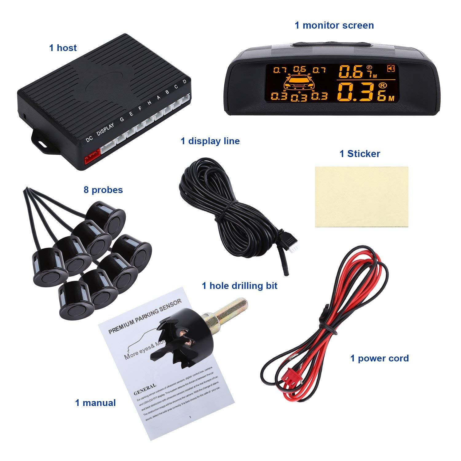 DIFEN Car Parking Sensor Kit LED Display Rear Front View Reverse Backup Radar System Backup Sensor Reversing Sensors Universal Auto Radar Detector Sensors Alarm Indicator (8 Parking Sensors, Black-A)
