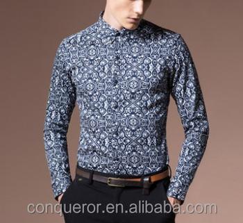 f4abd35dcc5 New Italian style slim fit Men s navy flower shirts