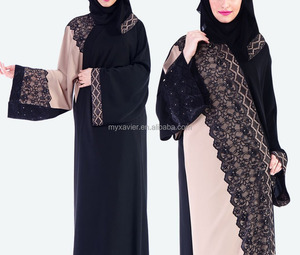 Front open buttoned down abaya with straight sleeves lace design fashion bubai abaya muslin kaftan dress