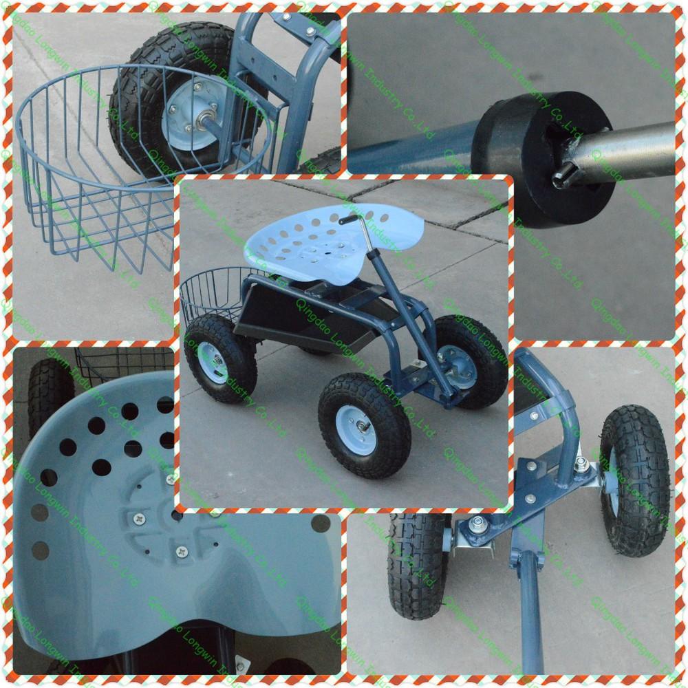 Garden Tool Deluxe Tractor Scoot With Bucket Basket
