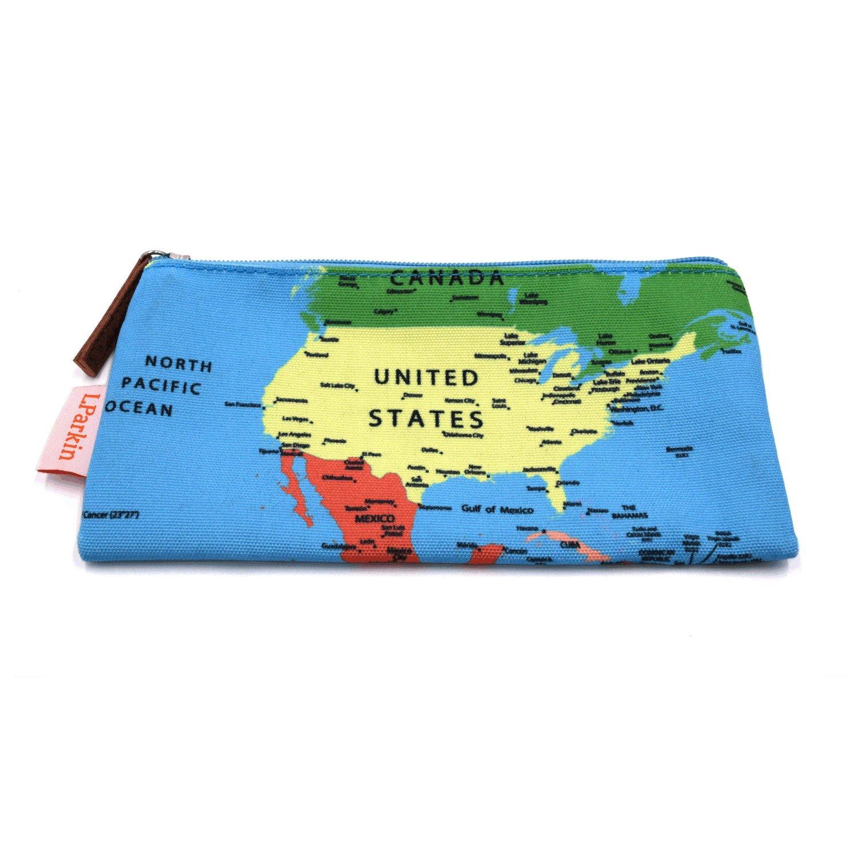 LParkin Map Pencil Case Students Super Large Capacity Canvas Pencil Case Pen Bag Pouch Stationary Case Makeup Cosmetic Bag (Map)