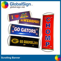 custom printed retractable fan hand scrolling banner