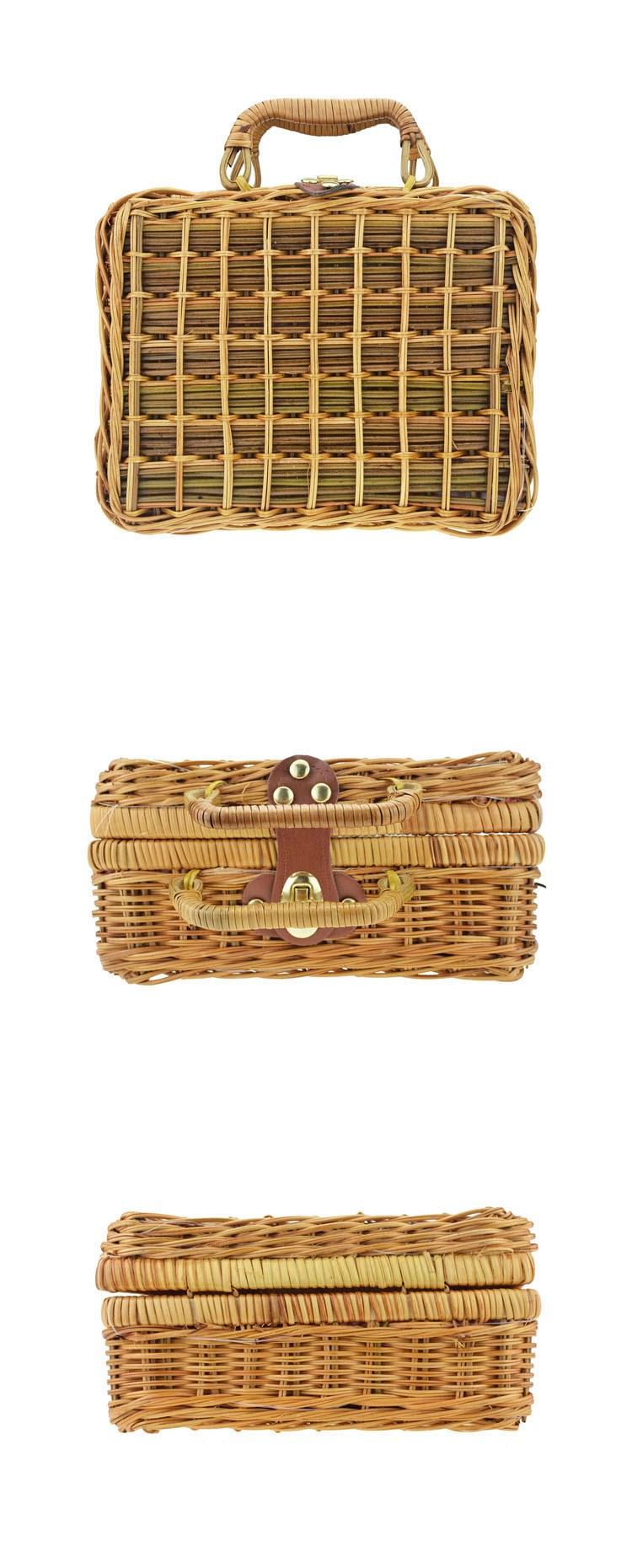 Handmade Mans Cane Tote Straw Bag