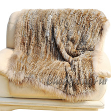 CX-D-72B Solid Thick Fluffy Raccoon Fur Trim Knitted Rabbit Fur Throw Blanket