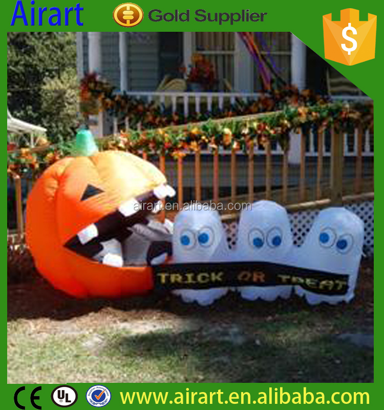 inflatable pumpkin with cute ghost halloween props for lawn decoration