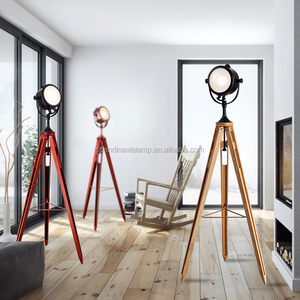 Vintage three Legs solid wood Floor Lamp home goods replica tripod lamps stand light