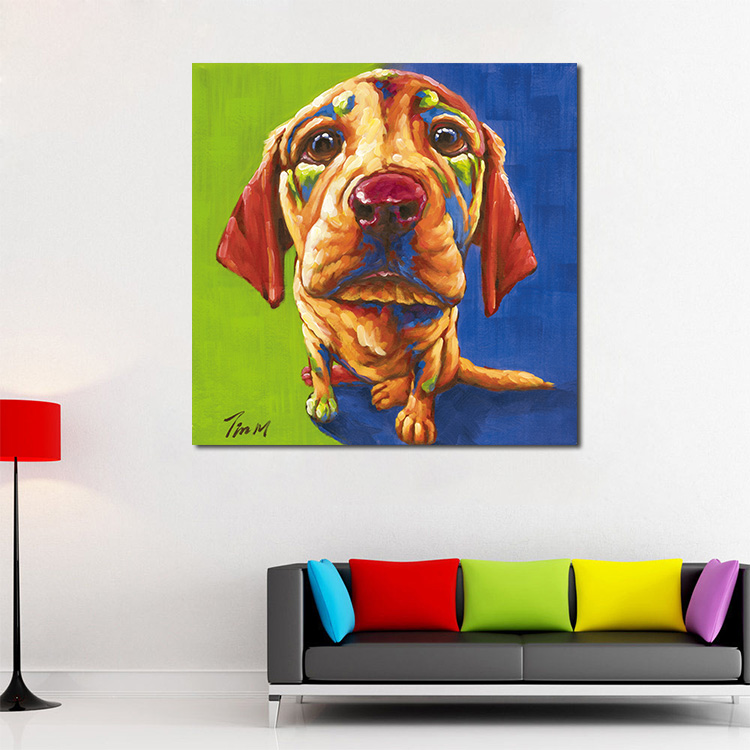 Colorful dog canvas art print poster cartoon animal 3D dog painting wall art home decor