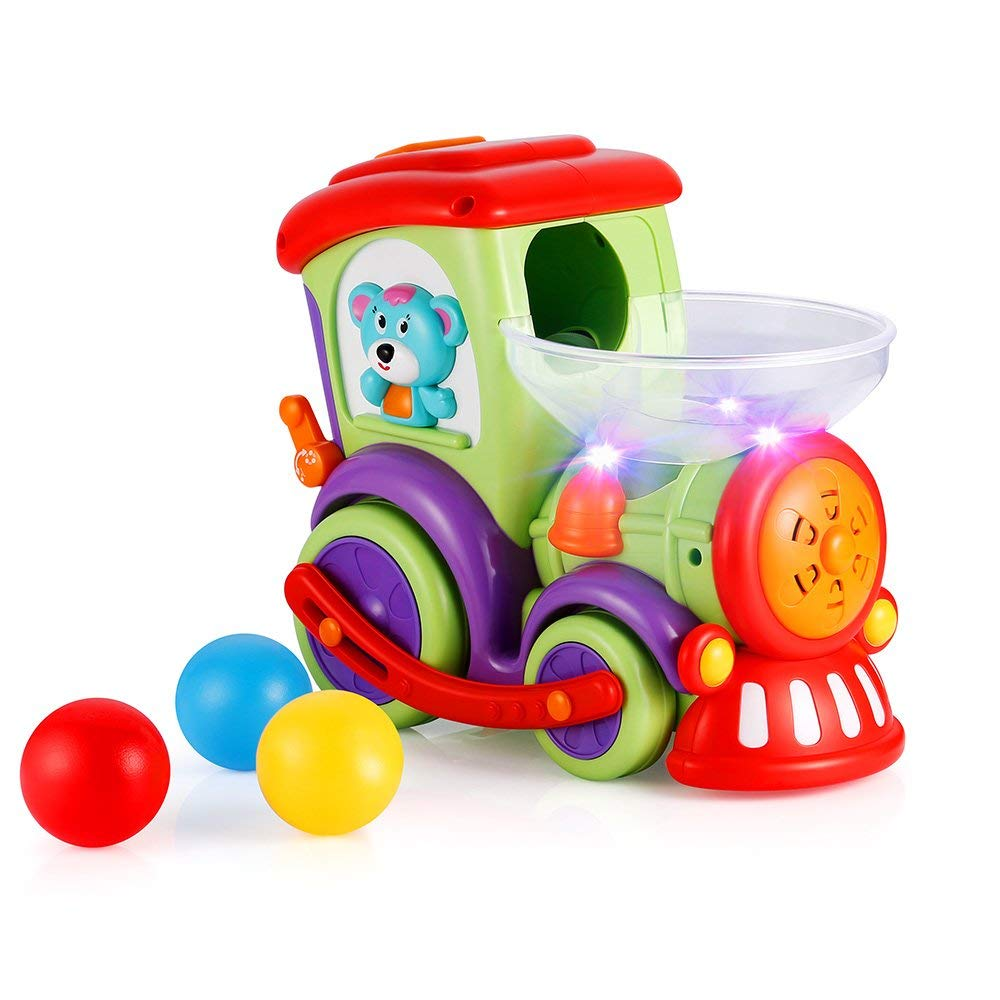 VATOS Drop and Go Train Baby Toys, Do Do Train Toy with Chasing Balls, Light, Talking & Music,Electric Toddler Toys with Universal Moving Wheel, Early Educational Toys for 1.5+ Year Old Boys and Girls