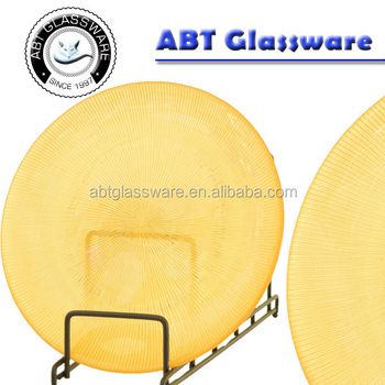 Classic elegant round translucent yellow glass charger plate