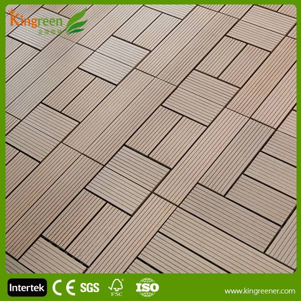 Garden Swimming pool decoration DIY decking 300*300mm great idea for choosing WPC interlocking decking tiles