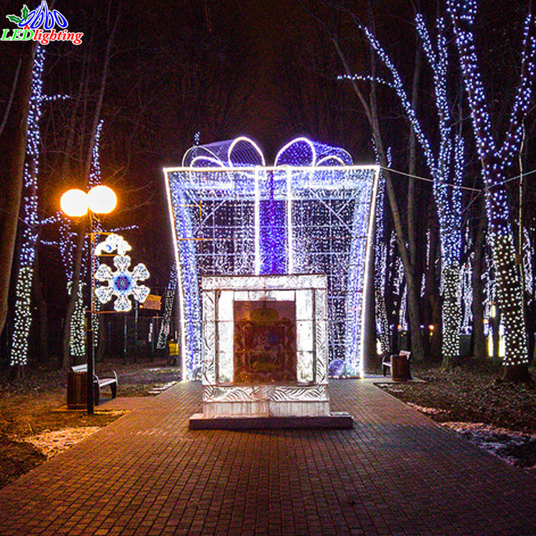 Outdoor Christmas Ornament Led Decoration Light Giant Motif Gift Box