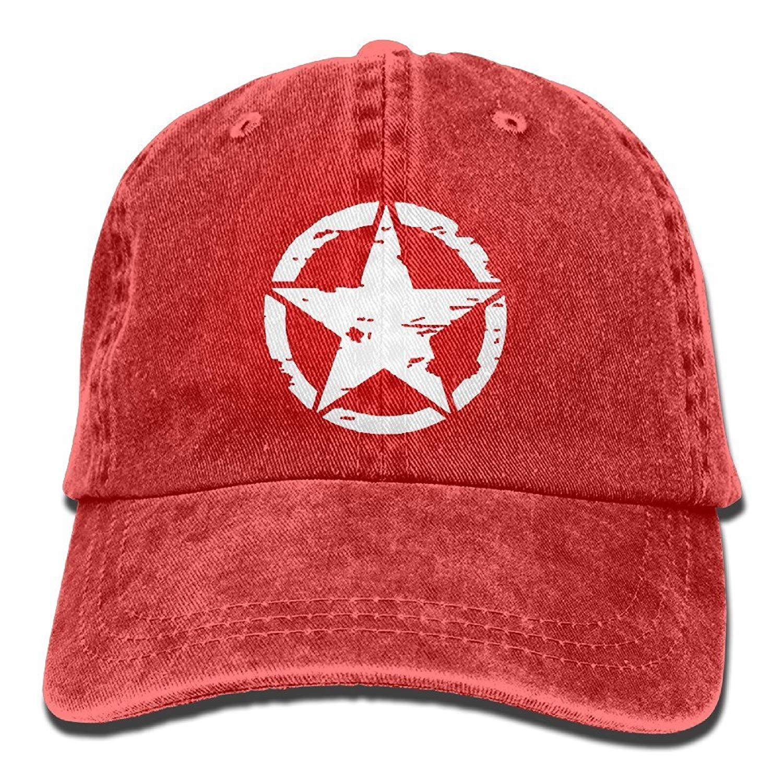 31751506b673ed Get Quotations · Oscar A Mike Military Star Unisex Adjustable Cotton Denim  Hat Washed Retro Gym Hat Cap Hat
