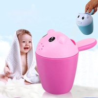 2019 Products Supply Baby Bathroom Accessory Toys Infant Shower Hair Washing Cartoon Bear Water Scoop Plastic Shampoo Rinse Cup
