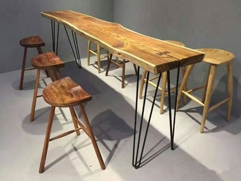 cheap customized oem designs walnut wood bar table furniture set for sale