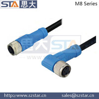 M8 6pins male molded cable 90 degree shielded M8 connector,90 degree shielded connector, waterproof male connector