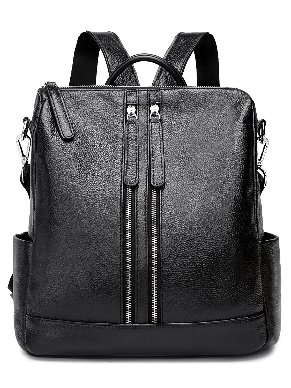 TECOOL Casual Backpack for Women, Genuine Leather Fashion Multi-pockets Shoulder bag Outdoor Leisure City Rucksack for Girls,Ladies - Black