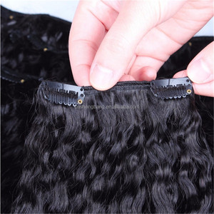Wholesale price Peruvian Kinky Curly afro hair clip in braided extensions