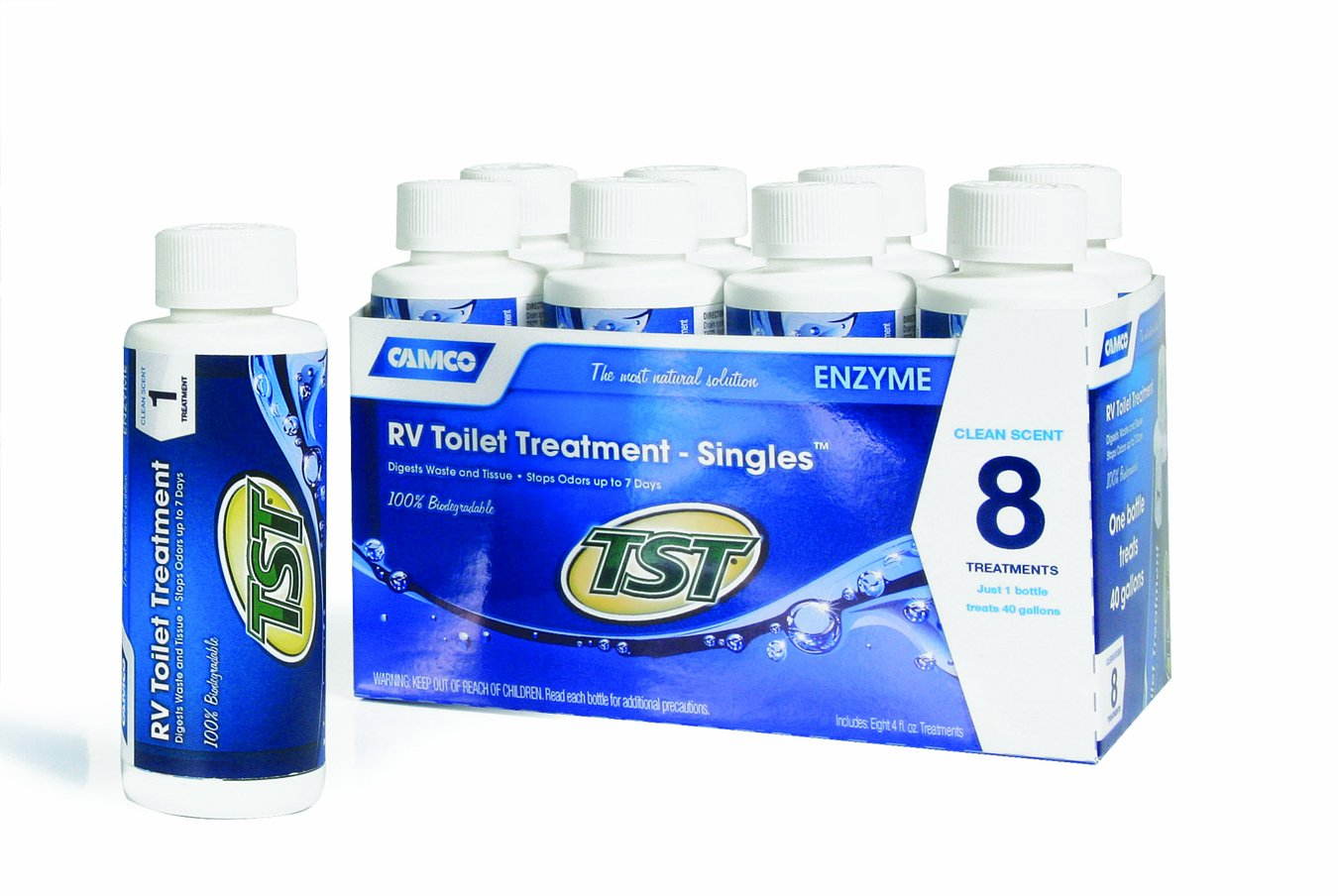 Camco TST Clean Scent RV Toilet Treatment, Formaldehyde Free, Breaks Down Waste And Tissue, Septic Tank Safe, Treats up to 8-40 Gallon Holding Tanks (8-pack of 4 ounce singles)